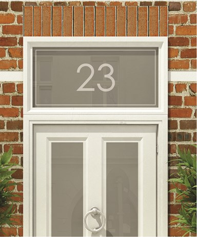Frosted numbers and text for your home the window film for Window number