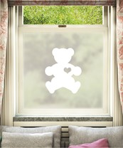 Teddy Bear Window Film White Design